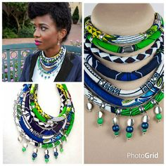 The Greenscape Wood Beaded Ankara Choker Green by ETurnerCouture