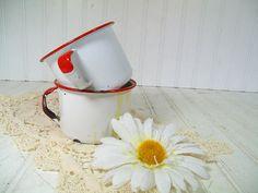 Vintage Red on White EnamelWare Metal Coffee Cup by DivineOrders, $26.00