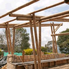 Pergola Front Of House Bamboo Roof, Bamboo Panels, Bamboo Art, Bamboo House, Bamboo Crafts, Bamboo Garden, Bamboo Architecture, Sustainable Architecture, Architecture Details