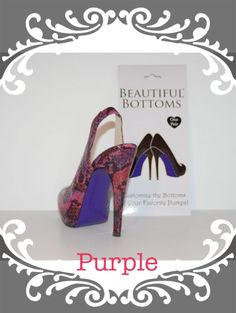 Shoe Bottoms: Purple  Do you have a pair of basic pumps you want to dress up with a pop of color or print! These Vinyl adhesives do just that!! They are easy to apply to the bottom of the shoe and last as long as needed. They are also easily removed but can only be used once.     *Each package comes with a pair of Beautiful Bottoms vinyl adhesive along with instructions on how to apply.