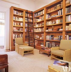 Architect Kerry Hill Restores a Singapore Home - Architectural Digest Home Library Design, Home Design Plans, House Design, Patio Design, British Colonial Style, Built In Bookcase, Bookshelves, Minimalist Architecture, Home Office Decor