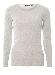 Womens **Tall Grey Crew Neck Long Sleeve Top- Grey