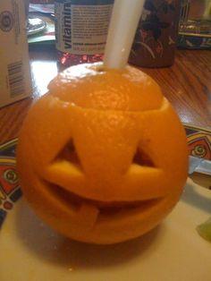 Healthy Halloween Treat: Orange Jack-o-Lantern Fruit Cups