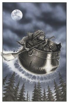 Baba Yaga and the flying cauldron