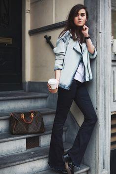 Denim jacket: MANGO  |  Flare jeans: MiH  |  Cropped Top: ZARA  |  T-Shirt: Isabel Marant for H&M  |  Bag: Louis Vuitton  |  Shoes: ZARA  |  Rings: Tom Wood