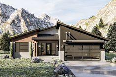Plan 62815DJ: Modern Ranch Home Plan With Dynamic Roofline
