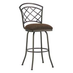 "Callee Baldwin 34"" Swivel Bar Stool Frame Finish: Sun Bronze, Upholstery: Victoria Dark Brown"