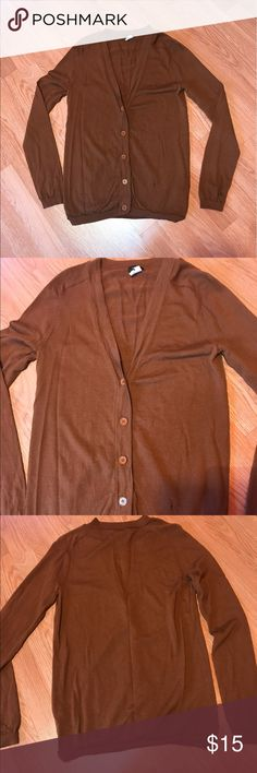 J. Crew Brown Cardigan Good condition. Only one small flaw on the front bottom. You can see in pics. It's a beautiful color. 100% merino wool. Size Medium J. Crew Sweaters Cardigans