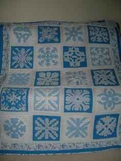 "Handmade ""Hawaiian"" Quilt Blue and white 56"" x 66"""