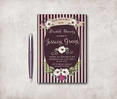 Fall Bridal Shower Invitation Printable, Floral Bridal Shower Invitation, Digital File - Marsala Invitation - pinned by pin4etsy.com