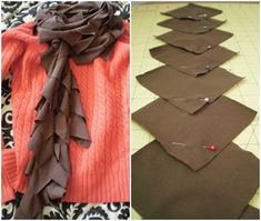 This is another easy DIY scarf tutorial that you can make using an old shirt. Cut the shirt into square pieces, and sew together, making a snake-like scarf. Very easy.