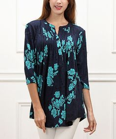 Look at this Navy Floral Notch Neck Tunic on #zulily today!
