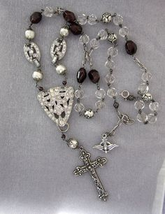 Religious Sterling Silver Cross Vintage Assemblage One of a Kind Necklace