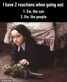 """Christina Ricci scored her first big role in 1990 playing Cher's daughter in """"Mermaids."""" She went on to star in """"The Addams Family,"""" """"Casper"""" and """"Now and Then. The Addams Family, Introvert Humor, Introvert Problems, Funny Quotes, Funny Memes, Hilarious, Story Of My Life, Laugh Out Loud, Make Me Smile"""
