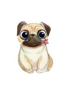 new Ideas dogs drawing pug Cute Drawings, Animal Drawings, Dog Drawings, Pug Cartoon, Pugs And Kisses, Pug Art, Dog Wallpaper, Art Graphique, Pug Love