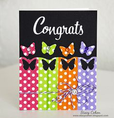 This eye-popping card by designer Stacy Cohen used Queen & Co. washi tapes!