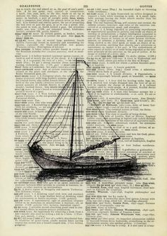 vintage sail boat I - printed on page from old dictionary. $10.00, via Etsy.