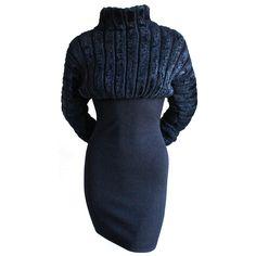 31236023063 1990 s AZZEDINE ALAIA black ribbed chenille dress