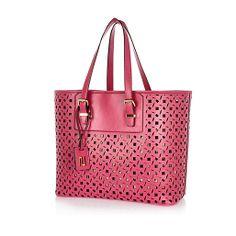 Pink metallic laser cut beach tote bag