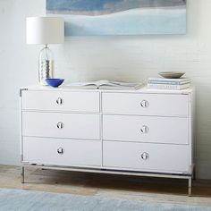 "Malone Campaign 6-Drawer Dresser - White Lacquer | west elm $1199 (sale for $959) 58""W x 32""H x 18""D"