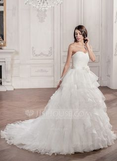 Ball-Gown Sweetheart Chapel Train Organza Satin Wedding Dress With Ruffle Flower(s) (002056950) - JJsHouse