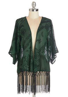 Charmed, I'm Fleur Jacket - Long, Sheer, Woven, Velvet, 1, Green, Black, Print, Fringed, Short Sleeves