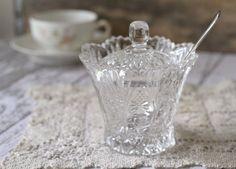 Vintage Cut Glass Sugar bowl or Jam Pot.