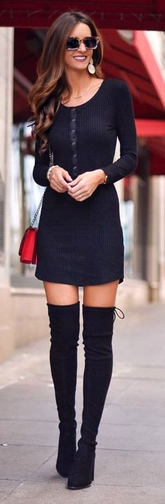#spring #outfits  woman wearing black long-sleeved mini dress and pair of black thigh-high boots. Pic by @myviewinheels