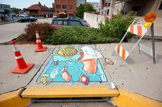 A stormwater drain mural painted by Dennis Murphy on Cherry Street between South Fourth and South Fifth Street in Columbia, Mo. Chalk Drawings, Art Drawings, Drawing Art, Missouri, Street Art, Pavement Art, Sidewalk Chalk Art, Land Art, Public Art