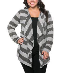 Look at this #zulilyfind! Gray & Charcoal Stripe Open Cardigan - Plus #zulilyfinds