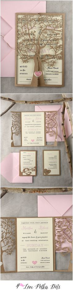 Rustic laser cut pink eco wedding invitations #rustic #eco #pink #lasercut #custom #weddinginvitations #weddingideas #blush #dpf