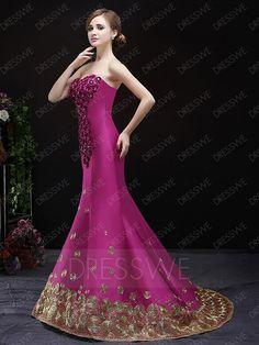 Retro Beading Flowers Sweetheart Neck Sleeveless Lace-up Mermaid Shape Floor Length Evening Dress 11607482 - Vintage Evening Dresses - Dresswe.Com