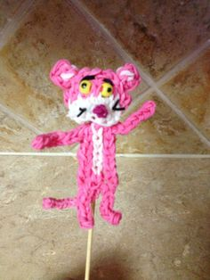 Rainbow Loom PINK PANTHER. Designed and loomed by Cheryl Spinelli. Rainbow Loom FB page. 03/06/14.