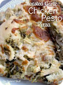 Roasted Garlic Chicken Pesto Pizza Recipe