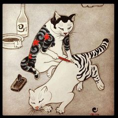 cat tattoo #cattoo [thinking this is Kuniyoshi, but could be wrong... http://www.japansociety.org/page/multimedia/image_galleries/graphic_heroes_magic_monsters_gallery ]