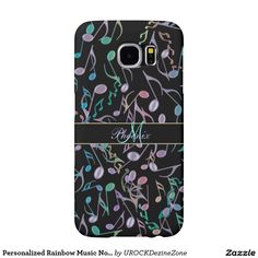 Personalized Rainbow #Music Notes Black S6 Case Samsung #Galaxy S6 Cases   #zazzle