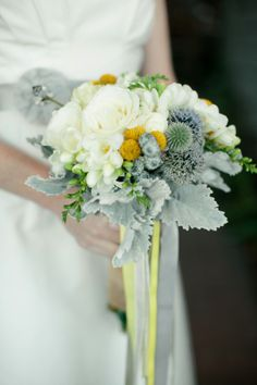 yellow, white, and gray bouquet, photo by Emily Takes Photos