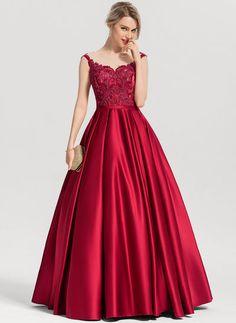 267e02a61 Corte de baile Escote redondo Hasta el suelo Satén Vestido de noche con  Lentejuelas (017153632