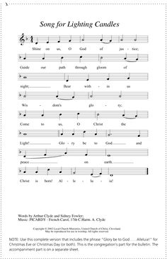 Advent Lights (Song for lighting Advent Candles) for Voice ...
