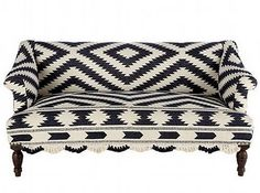 Wisteria sofa upholstered in black and white moroccan bridal blanket - amazing