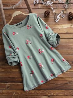 Casual Flower Embroidery Long Sleeve Shirt for Women can cover your body well, make you more sexy, Newchic offer cheap plus size fashion tops for women. Stylish Tops For Women, Stylish Dresses For Girls, Stylish Dress Designs, Trendy Outfits, Casual Wear For Ladies, Girls Fashion Clothes, Fashion Outfits, Clothes For Women, Kurta Designs Women