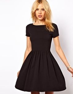 Skater Dress With Slash Neck And Short Sleeves by ASOS