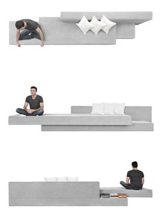Brazilian architect Paulo Kobylka has designed sofas PK1 and PK2 with cantilevered cushions that look like long concrete slabs stacked on top of one another.