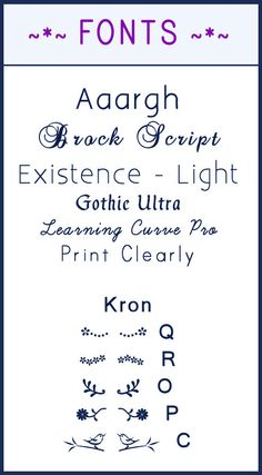 Fonts - The examples in BLUE are the names of the FONTS.  The first 6 are by FONT name. EDIT. SHOULD BE KFON   is the name of the FONT that makes the graphics I've listed.  I only choose a very few of Kron's keystrokes to show on this graphic.   Find them all for FREE at this link.  Search by the name of the FONT in the search box.   http://www.fontsquirrel.com/