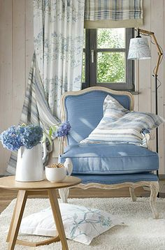 Cottage ● French Country ● Chair - make a script pillow for the blue chair upstairs.
