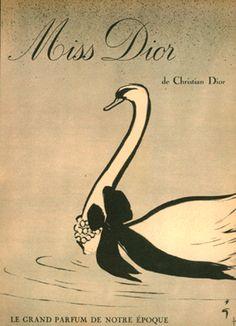 Miss Dior Ad - Rene Gruau illustration, circ 1947