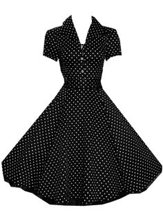 "Robe à pois rockabilly vintage HR London ""Black White Small Dot"""