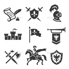 Knight Medieval History Icons Set
