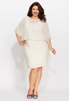 Plus Size Chiffon Pleat Bottom Dress | Plus Size Party Dresses | Avenue