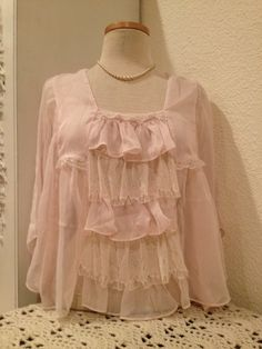 Pretty In Pink sheer pink and lace blouse